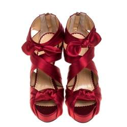 Charlotte Olympia Red Satin Andrea Knotted Platform Sandals Size 35