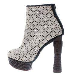 Charlotte Olympia Cream Damsel In Distress Crocheted Ankle Boots Size 36.5