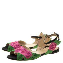 Charlotte Olympia Pink/Green Rose Embroidered Fabric Ankle Strap Flat Sandals Size 36