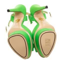Charlotte Olympia Gren Satin Serena Bow Ankle Strap Platform Sandals Size 40