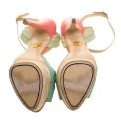 Charlotte Olympia Green Suede Isla Leaf Espadrille Platform Sandals Size 41