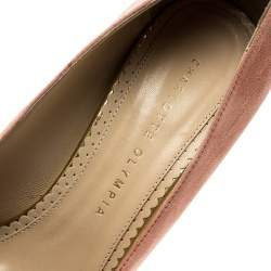 Charlotte Olympia Salmon Pink Suede Dolly Platform Pumps Size 39