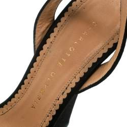 Charlotte Olympia Black Suede Vreeland Ankle Strap Platform Sandals Size 37.5