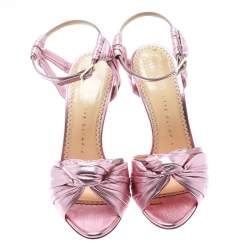 Charlotte Olympia Metallic Pink Ruched Leather Broadway Ankle Strap Sandals Size 37