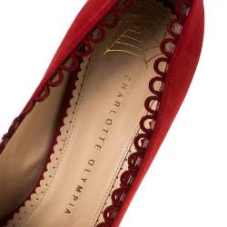 Charlotte Olympia Red Suede Daphne Scalloped Trim Peep Toe Platform Pumps Size 40