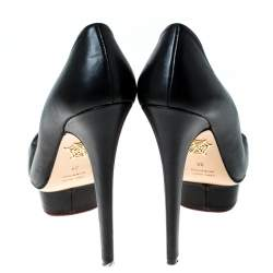 Charlotte Olympia Black Leather Dolly Platform Pumps Size 38