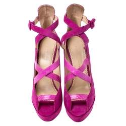 Charlotte Olympia Pink Caged Suede and Snakeskin Trim Gladys Platform Sandals Size 41