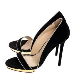 Charlotte Olympia Black Suede Christine Open Toe Sandals Size 38.5