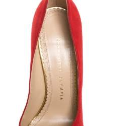 Charlotte Olympia Red Suede Dolly Platform Pumps Size 37