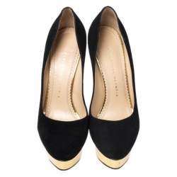 Charlotte Olympia Black Suede Dolly Platform Pumps Size 37.5