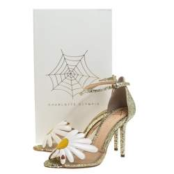 Charlotte Olympia Gold/White Glitter and Leather Margherita Ankle Strap Sandals Size 36
