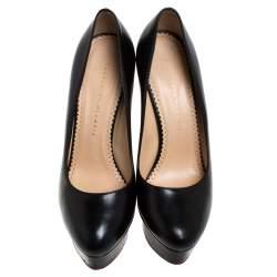 Charlotte Olympia Black Leather Dolly Platform Pumps Size 40