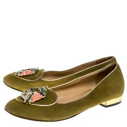 Charlotte Olympia Green Suede Capricorn Smoking Slippers Size 37.5