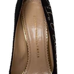 "Charlotte Olympia Black 'Happily Ever After"" Embroidered Felt Dolly Platform Pumps Size 38.5"