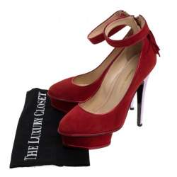 Charlotte Olympia Red Suede Dolores Ankle Strap Platform Pumps Size 37