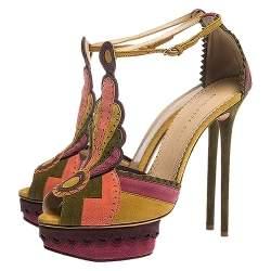 Charlotte Olympia Multicolor Suede Sunset Ankle Strap Platform Sandals Size 41