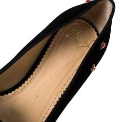 Charlotte Olympia Black Velvet Lucky Kitty Ladybug Embellished Flats Size 40.5