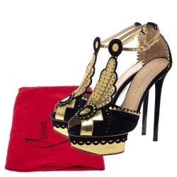 Charlotte Olympia Metallic Gold/Black Leather and Suede Sunset Ankle Strap Platform Sandals Size 36