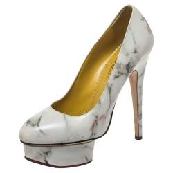 Charlotte Olympia White/Grey Marble-Print Leather Dolly Platform Pumps Size 37