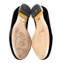 حذاء فلات باليه شارلوت أوليمبيا قطيفة أسود كيتي مقاس 38