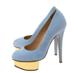 Charlotte Olympia Light Blue Suede Dolly Platform Pumps Size 36