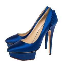 Charlotte Olympia Blue Satin Paloma Platform Pumps Size 37.5