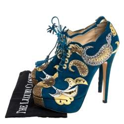 Charlotte Olympia Blue Suede Leather Flower Detail Platform Booties Size 37.5