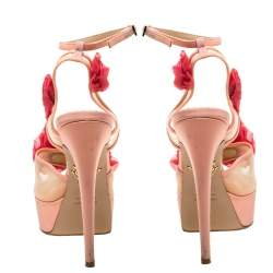 Charlotte Olympia Peach/Pink Satin and Mesh Pomeline Rose Peep Toe Platform Sandals Size 36