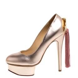 Charlotte Olympia Metallic Light Pink Tassel Detail Starla Platform Pumps Size 37