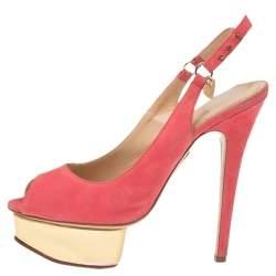 Charlotte Olympia Pink Suede Slingback Peep Toe Platform Sandals Size 37.5