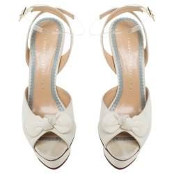 Charlotte Olympia Cream Satin Serena Bow Ankle Strap Platform Sandals Size 37