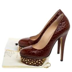 Charlotte Olympia Brown Leather Chestnut Dolly Studded Platform Pumps Size 36