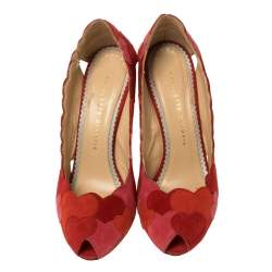 Charlotte Olympia Red/Pink Suede Love Me Heart-Appliquéd Pumps Size 38