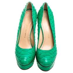 Charlotte Olympia Green Python Leather Priscilla Pumps Size 38