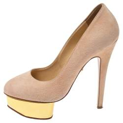 Charlotte Olympia Light Beige Suede Dolly Platform Pump Size 35.5