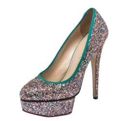 Charlotte Olympia Multicolor Glitter Priscilla Platform Pumps Size 38
