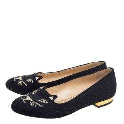 Charlotte Olympia Black Canvas Kitty Ballet Flats Size 36.5