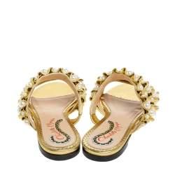 Charlotte Olympia Gold Leather Celina Pearl Embellished Slide Sandals Size 35