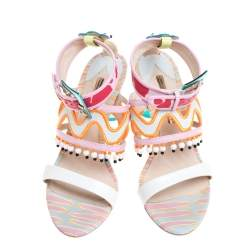 Charlotte Olympia Multicolor Leather Beaded Sandals Size 40