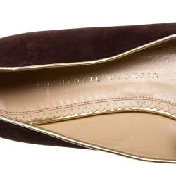 Charlotte Olympia Brown Suede Bull Smoking Slippers Size 40