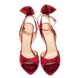 Charlotte Olympia Red Satin Wallace Ankle Strap Sandals Size 38