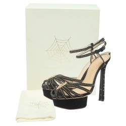 Charlotte Olympia Black Velvet Studed Ankle Strap Platform Sandals Size 37.5
