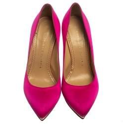 Charlotte Olympia Two Tone Pink Satin Dotty Platform Pumps Size 38