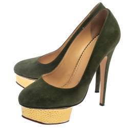 Charlotte Olympia Green Suede Dolly Platform Pumps Size 38