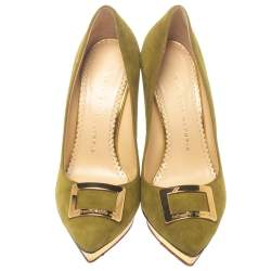 Charlotte Olympia Green Suede Dotty Platform Pumps Size 37.5