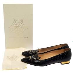 Charlotte Olympia Black Croc Embossed Leather Kitty Flats Size 41