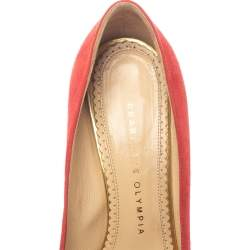 Charlotte Olympia Red Suede Leather Dolly Platform Pumps Size 37.5