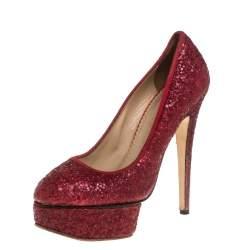 Charlotte Olympia Red Glitter Priscilla Platform Pumps Size 38.5