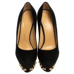 Charlotte Olympia Black Suede Dolly Studded Platform Pumps Size 36.5