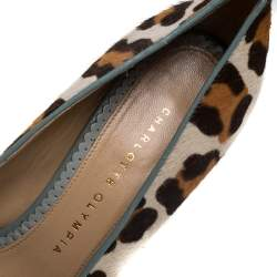Charlotte Olympia Brown/Beige Leopard Print Pony Hair And Leather Pumps Size 38